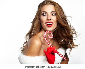beautiful sexy girl wearing santa claus clothes isolated on white