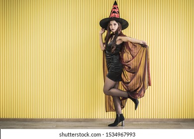 A beautiful sexy girl witch in a black dress on a yellow background. Halloween.A sexual witch, a day of thanksgiving, a day of all saints.