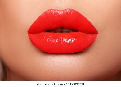 Beautiful sexy lips. red big lips - close-up