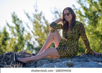 beautiful sexy model summer dress heels mini summer dress