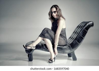 beautiful sexy model summer dress black high heels