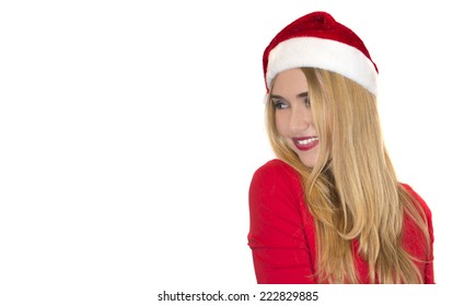 Beautiful sexy santa clause blond woman hat, isolated on white background