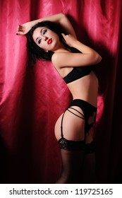Beautiful sexy woman in sexy black lingerie