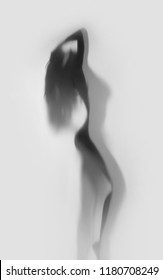 Beautiful and sexy woman body silhouette in attractive pose behind a diffuse curtain.