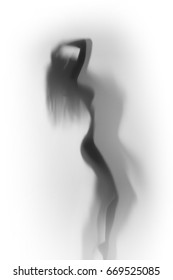 Beautiful and sexy woman body silhouette behind a glass surface
