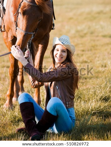 Beautiful Sexy Woman Cowgirl Horse Has Stock Photo (Edit Now ... c59ff2acdc01