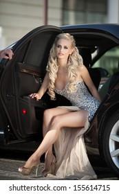 Beautiful y Woman Luxury Car Long Stock Photo & Image (Royalty ...