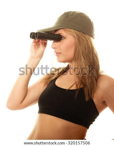 a06a6ac61983d0 Beautiful Sexy Woman Military Clothes Binoculars Stock Photo (Edit ...