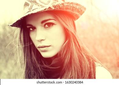 beautiful sexy woman, nature, fashion shot of