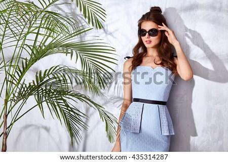 0a17bbb6b33 Beautiful sexy woman wear fashion design dress glamour style model pose  elegance business casual celebrity lady