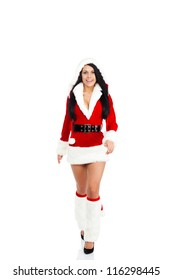 Beautiful sexy woman wear Santa Clause costume, christmas new year party girl happy smile go for walk make step forward,  full length portrait isolated on white background