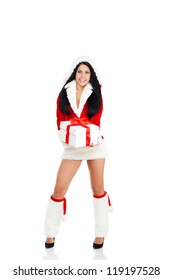 Beautiful sexy woman wear Santa Clause costume, christmas girl happy smile hold new year gift box present, full length portrait isolated on white background