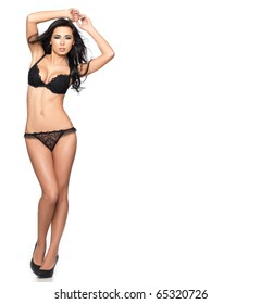 Beautiful and sexy woman wearing black lingerie