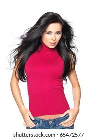 Beautiful and sexy woman wearing red shirt