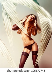 beautiful sexy woman and wings