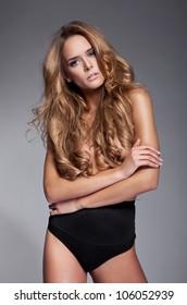 Beautiful sexy woman without a bra