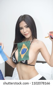 Beautiful sexy women football fan soccer.