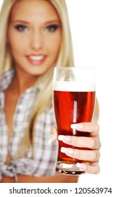 Beautiful and sexy young blond smiling woman giving beer, isolated on white