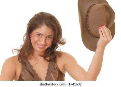 Beautiful and sexy young girl wearing cowboy hat 9051b2177c8b