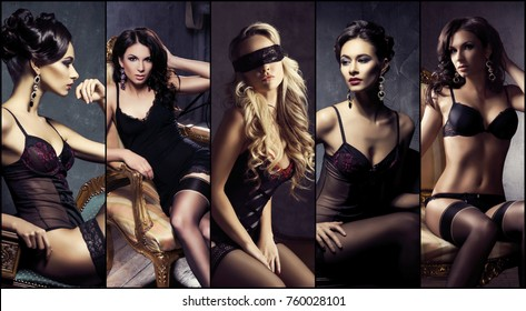 Beautiful, sexy and young girls in lingerie. Fashion models in erotic underwear. Glamour, vogue, fashion concept collage.