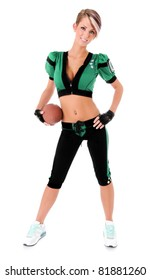 Beautiful sexy young woman wearing American football Uniform holding a ball