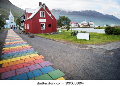Beautiful Seydisfjordur small city in east Iceland