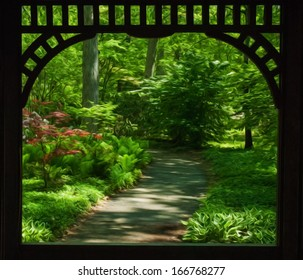Beautiful shade garden framed the wooden features of a Gazebo surrounded by blooming rhododendron and azaleas. This photo has been given a Photoshop effect to make it resemble an oil painting.
