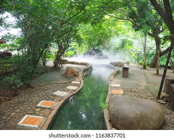 Beautiful and Shady  foot soak onsen, at Mae Khachan Hot Spring in Mae Khachan district, Chiang Rai, Thailand