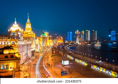 beautiful shanghai bund at night , China