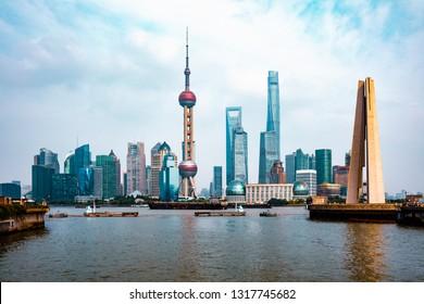 Beautiful Shanghai city view from suzhou river, Shanghai city skyline, China