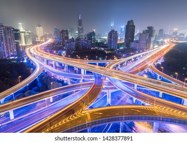 beautiful shanghai night view of city interchange
