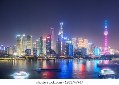 beautiful shanghai at night, view from north the bund, China
