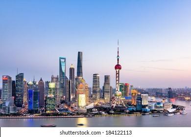 Beautiful Shanghai Pudong skyline at dusk