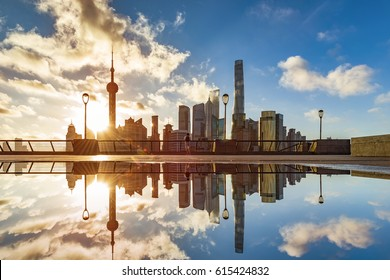 Beautiful Shanghai Pudong skyline,in the morning