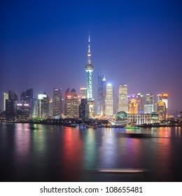 beautiful shanghai skyline at night,China