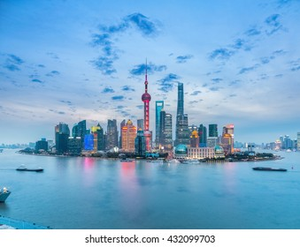 beautiful shanghai skyline in nightfall ,modern city background