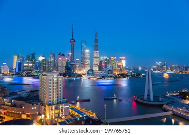 beautiful shanghai when the evening lights are lit