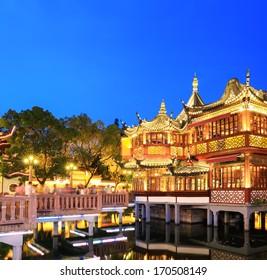 beautiful shanghai yuyuan garden at night , China.