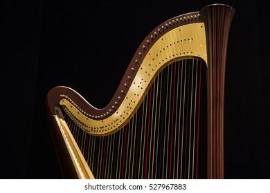 Beautiful shape of harp, close up on the dark, black background