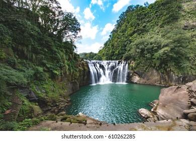 Beautiful Shifen waterfall in Daylight