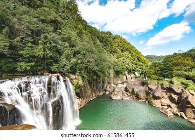 Beautiful Shifen waterfall in Daylight / Taiwan / Pingxi District / New Taipei City