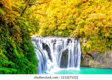 Beautiful Shifen waterfall nature scenery located in Pingxi District Taiwan
