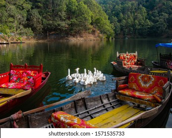 Beautiful Shikaras and Boats anochored at the bank of Sattal lake (located in the Kumaun Himalayan region of Uttarakhand, India)
