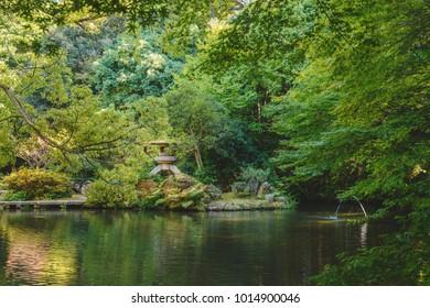 Beautiful Shin en Garden of the Oyama jinja shrine in Kanazawa, Japan