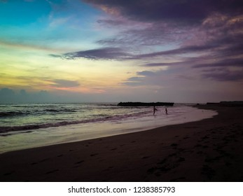 Beautiful Shine Sunset Moment At Batu Bolong Beach, Canggu Village, Badung, Bali, Indonesia