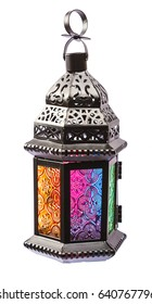 Beautiful a shining Fanus lantern isolation on white background. The Muslim feast of the holy month of Ramadan Kareem. Free space for your text.
