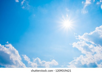 Beautiful shining sun at clear blue sky with copy space.