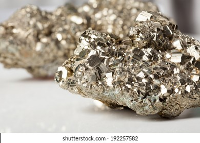 Beautiful shiny silver and golden pyrite close-up