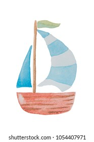Beautiful ship with big sails on a white background painted in watercolor