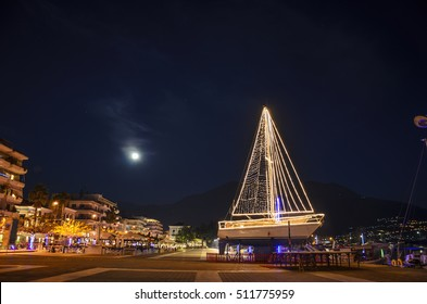 A beautiful Ship at the port of Kalamata city decorated for Christmas. Kalamata is a wonderful seaside lively city and it is one of the most beautiful cities in Greece. Messenia - Greece